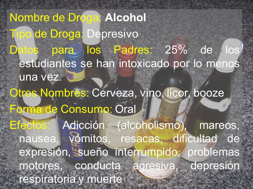 Nombre de Droga: Alcohol