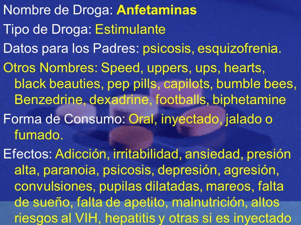 Nombre de Droga: Anfetaminas