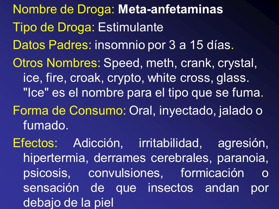 Nombre de Droga: Meta-anfetaminas