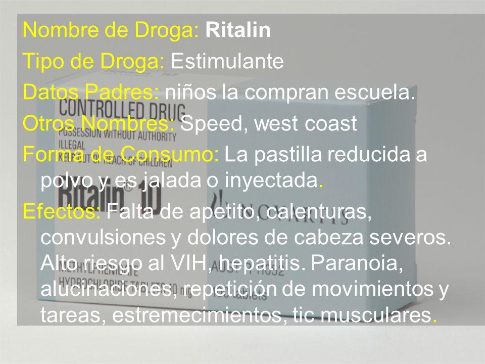 Nombre de Droga: Ritalin
