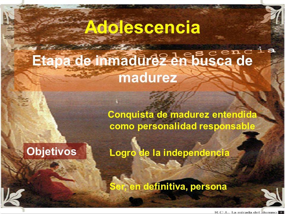 Adolescencia Etapa de inmadurez en busca de madurez Objetivos