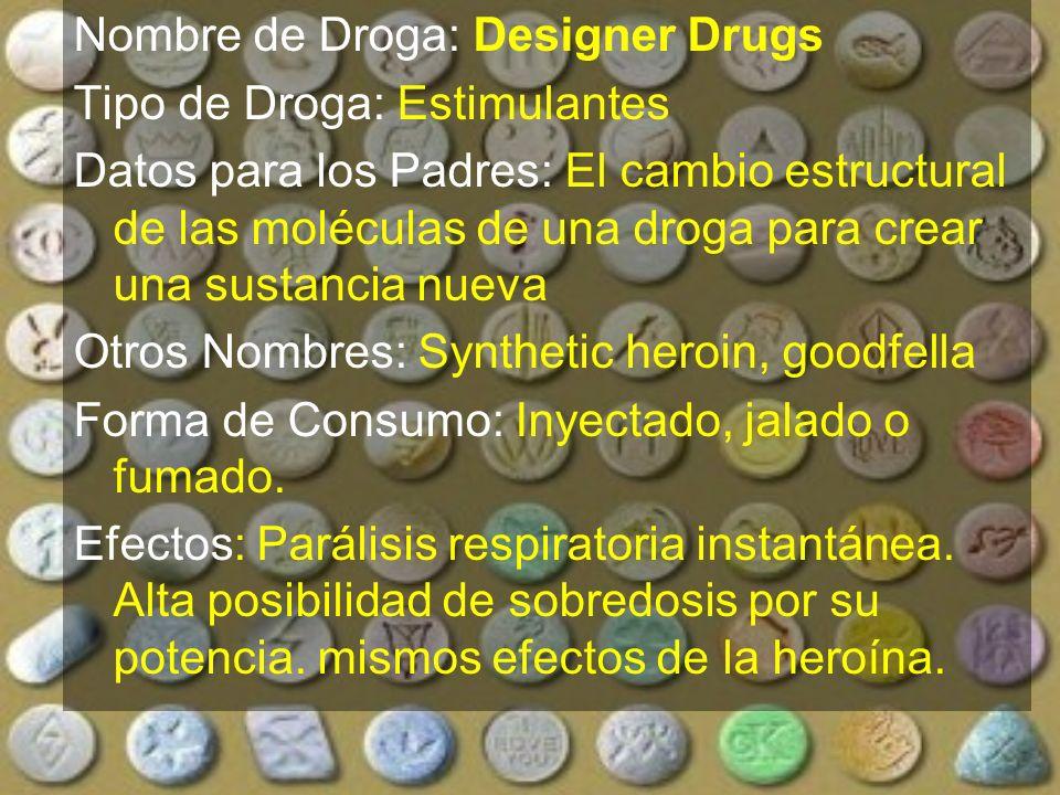 Nombre de Droga: Designer Drugs
