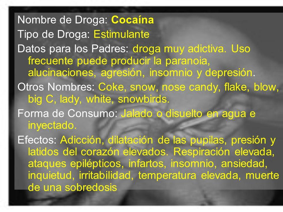 Nombre de Droga: Cocaína