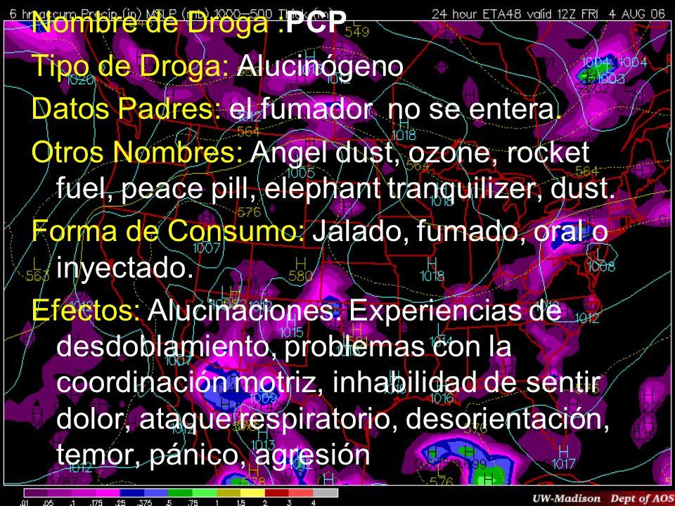 Nombre de Droga :PCPTipo de Droga: Alucinógeno. Datos Padres: el fumador no se entera.