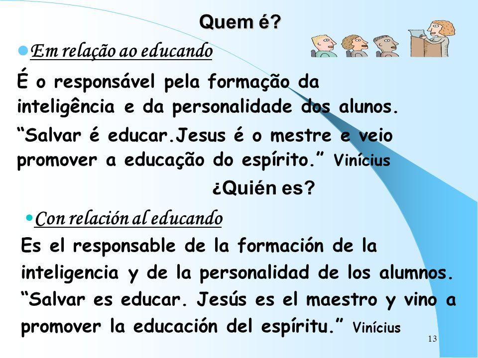 Quem é Em relação ao educando. É o responsável pela formação da inteligência e da personalidade dos alunos.