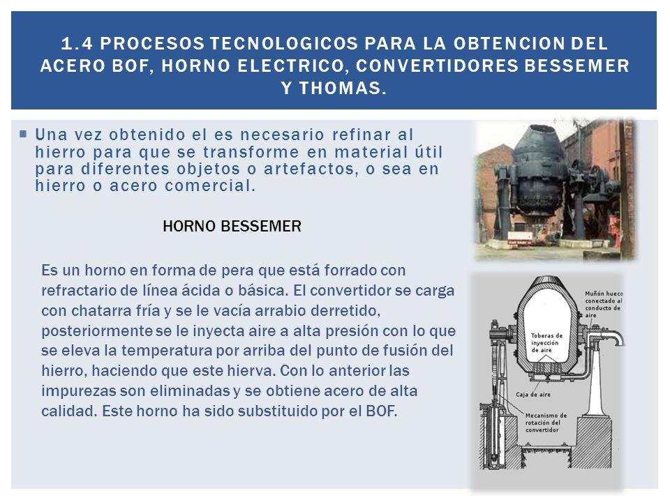 1.4 PROCESOS TECNOLOGICOS PARA LA OBTENCION DEL ACERO BOF, HORNO ELECTRICO, CONVERTIDORES BESSEMER Y THOMAS.