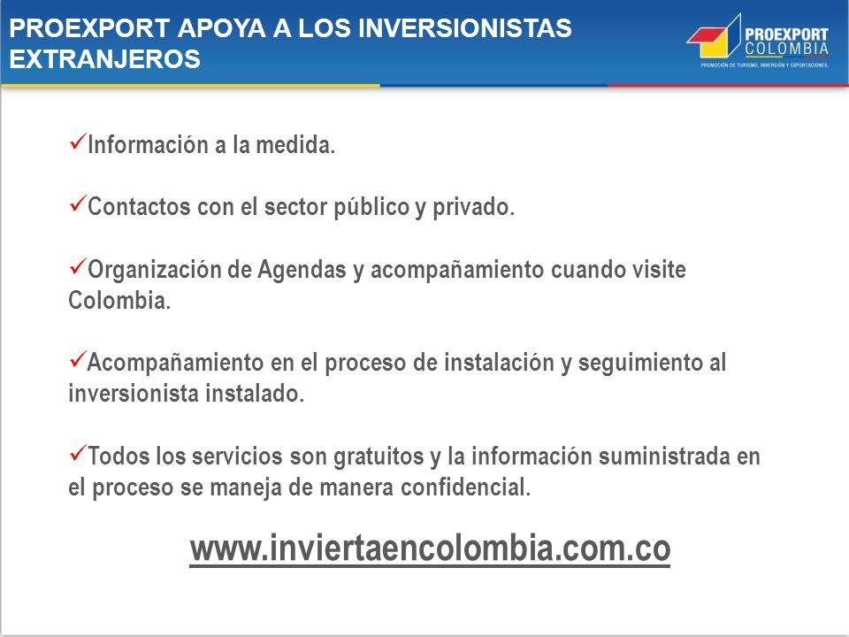 PROEXPORT APOYA A LOS INVERSIONISTAS EXTRANJEROS