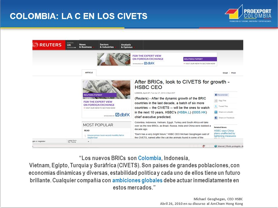 Los nuevos BRICs son Colombia, Indonesia,