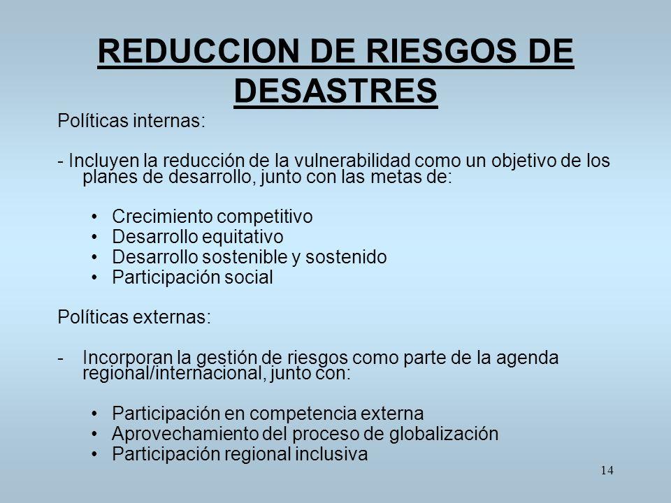 REDUCCION DE RIESGOS DE DESASTRES