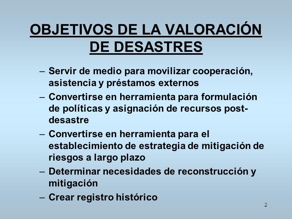 OBJETIVOS DE LA VALORACIÓN DE DESASTRES