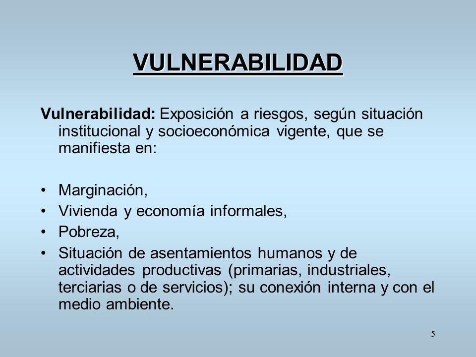VULNERABILIDAD Vulnerabilidad: Exposición a riesgos, según situación institucional y socioeconómica vigente, que se manifiesta en: