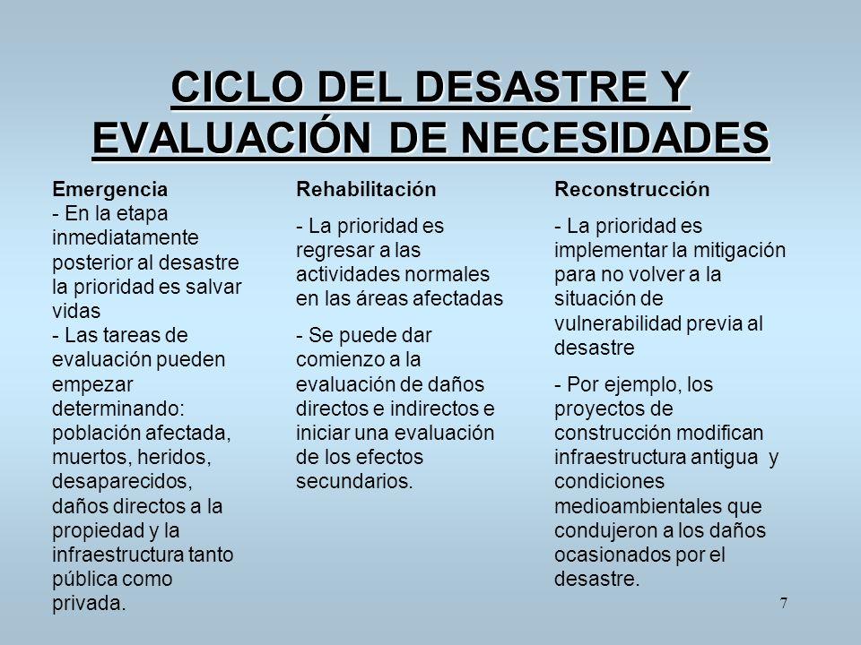 CICLO DEL DESASTRE Y EVALUACIÓN DE NECESIDADES