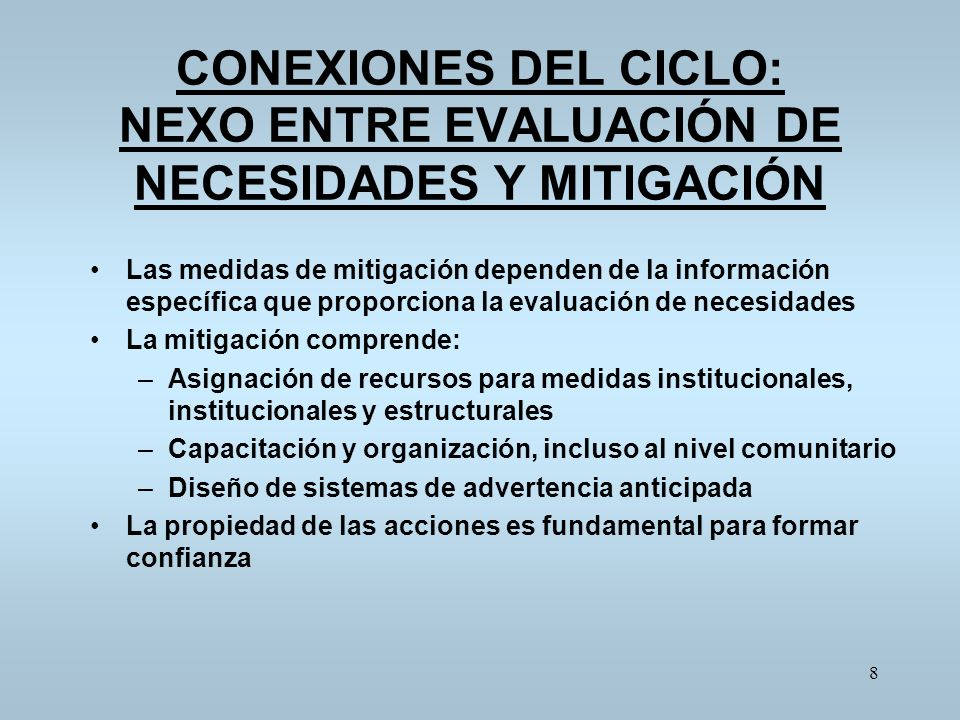 CONEXIONES DEL CICLO: NEXO ENTRE EVALUACIÓN DE NECESIDADES Y MITIGACIÓN