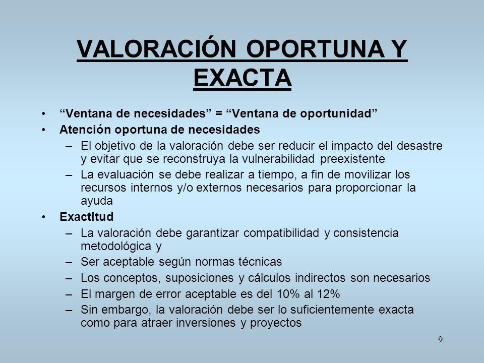 VALORACIÓN OPORTUNA Y EXACTA