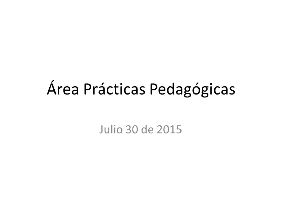 Área Prácticas Pedagógicas
