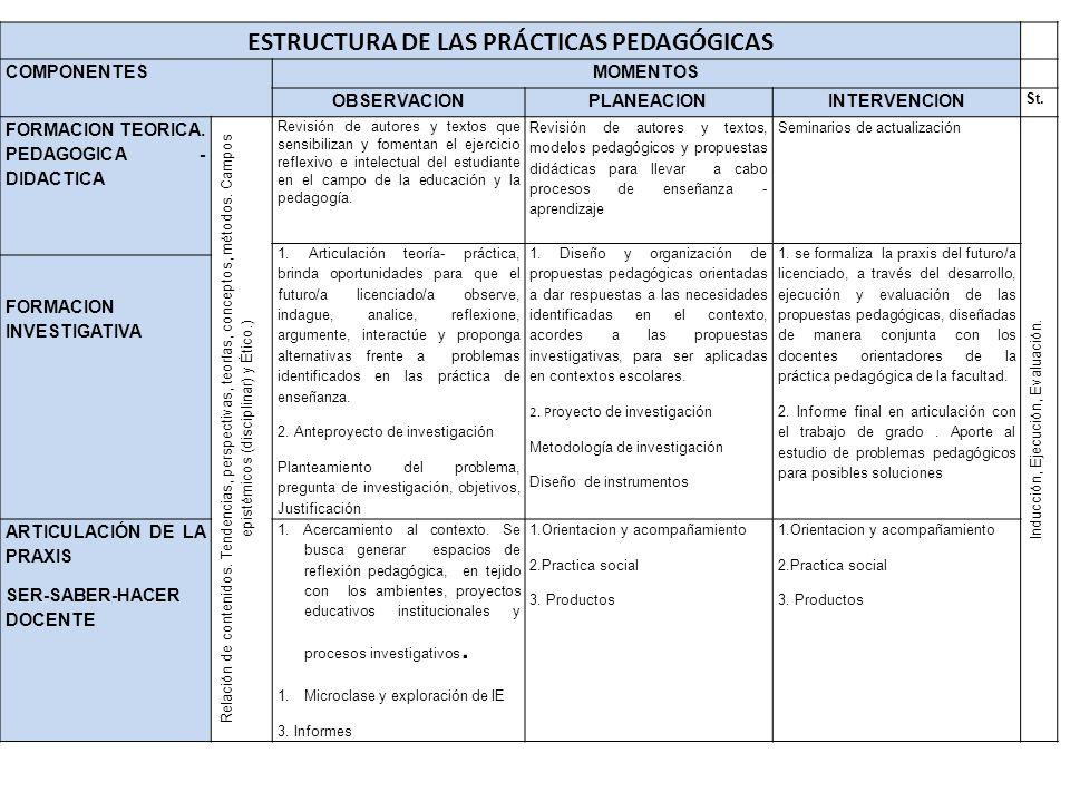 ESTRUCTURA DE LAS PRÁCTICAS PEDAGÓGICAS