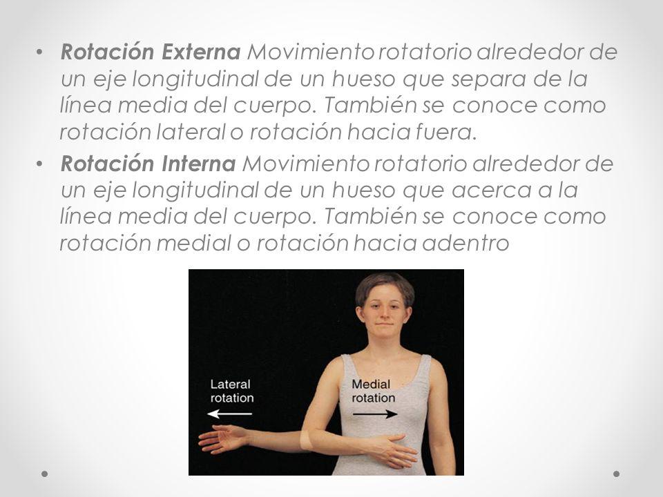 Rotación Externa Movimiento rotatorio alrededor de un eje longitudinal de un hueso que separa de la línea media del cuerpo. También se conoce como rotación lateral o rotación hacia fuera.
