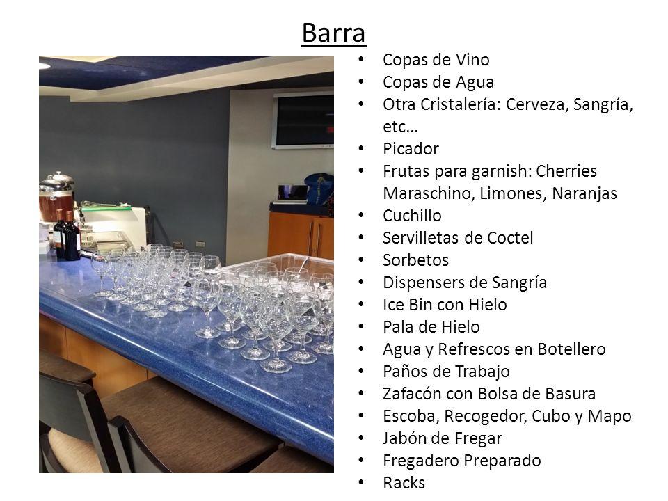Barra Copas de Vino Copas de Agua