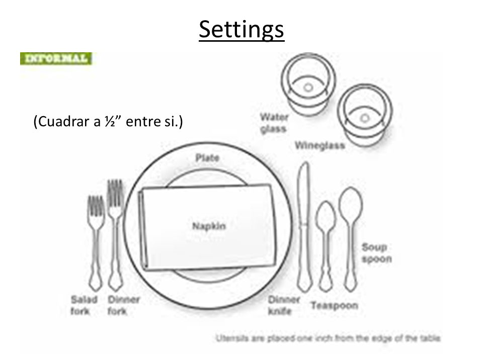 Settings (Cuadrar a ½ entre si.)