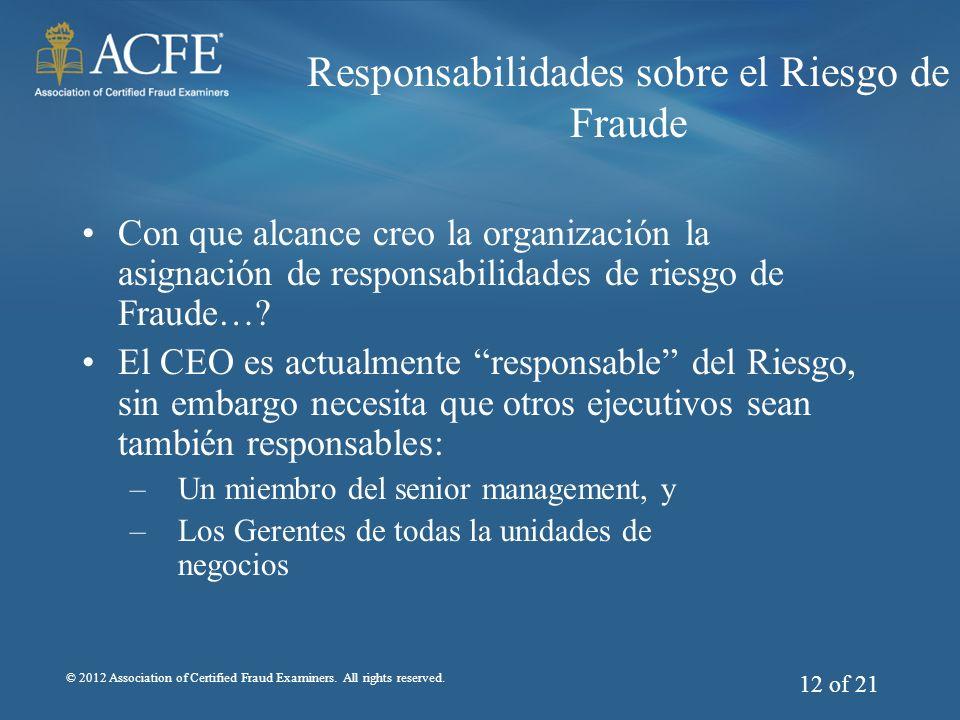 Responsabilidades sobre el Riesgo de Fraude