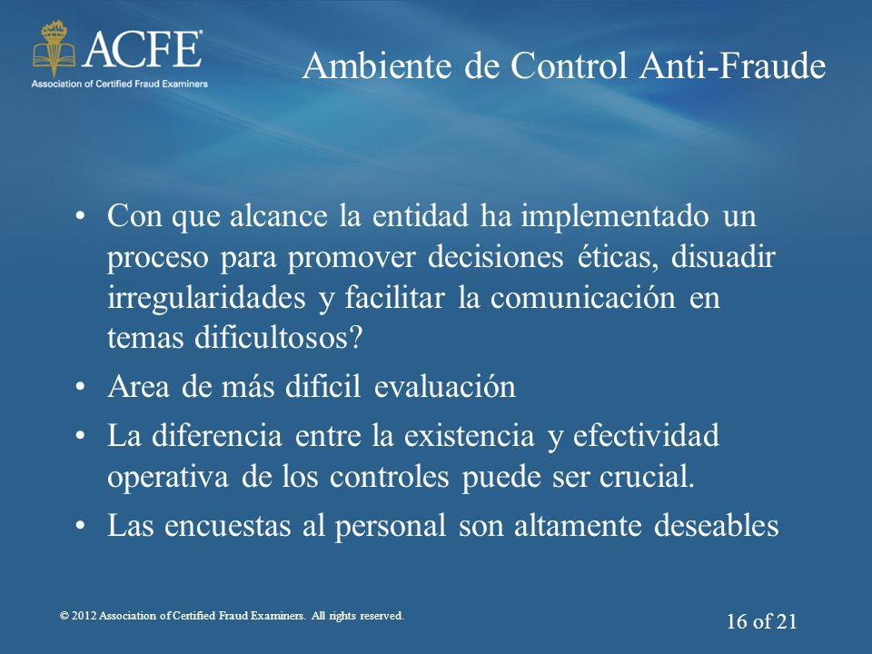 Ambiente de Control Anti-Fraude
