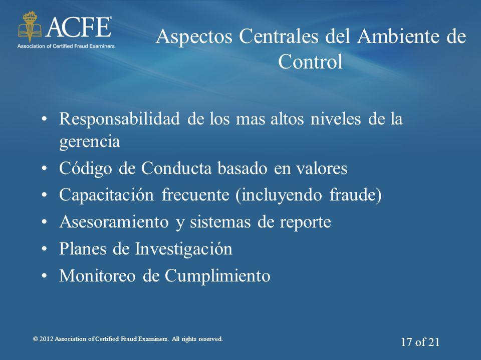 Aspectos Centrales del Ambiente de Control