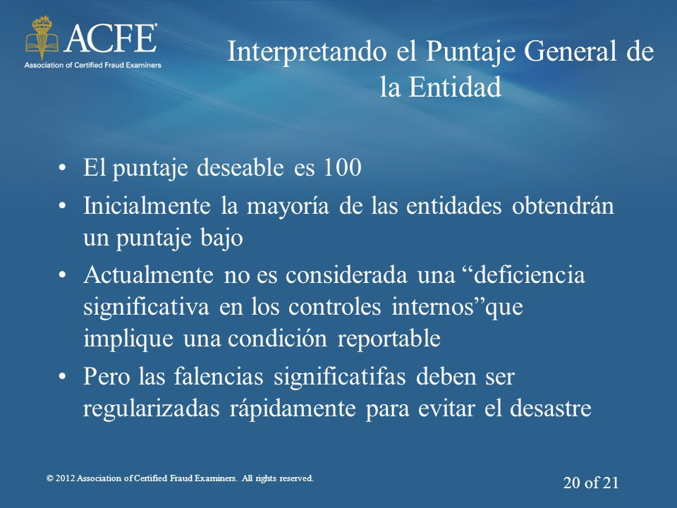 Interpretando el Puntaje General de la Entidad