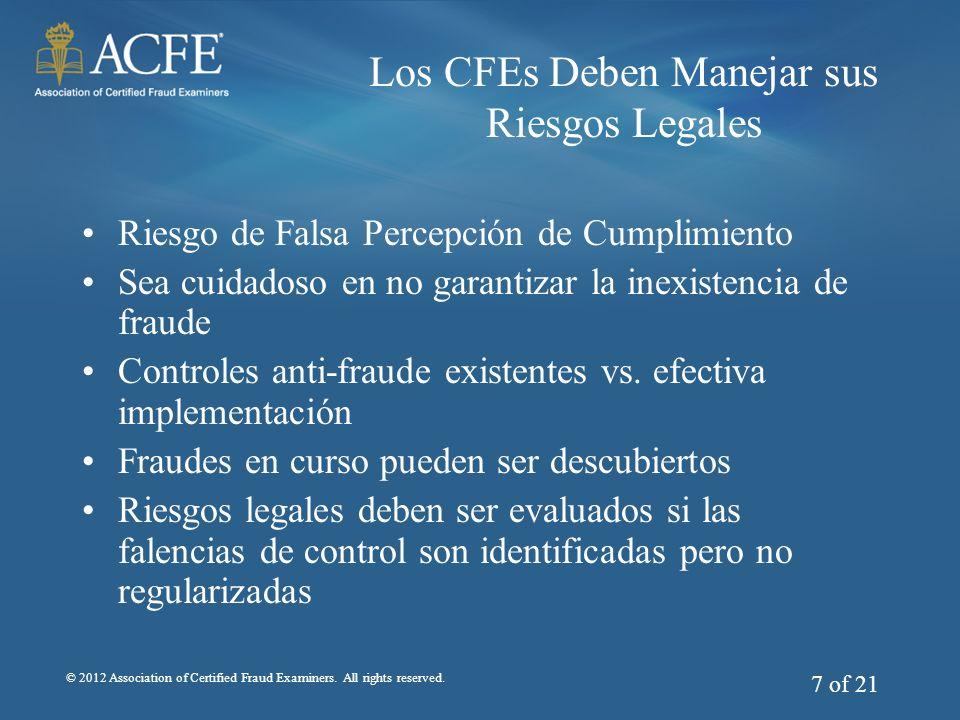 Los CFEs Deben Manejar sus Riesgos Legales