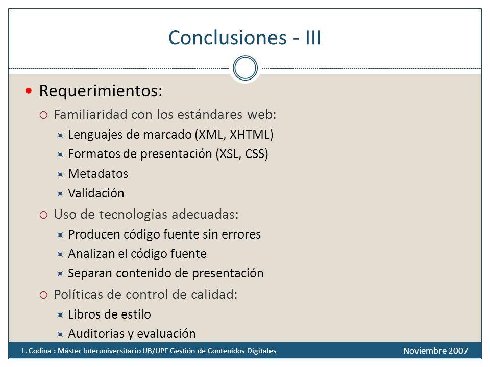 Conclusiones - III Requerimientos: