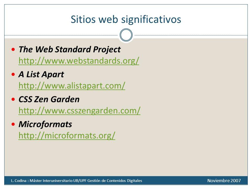 Sitios web significativos