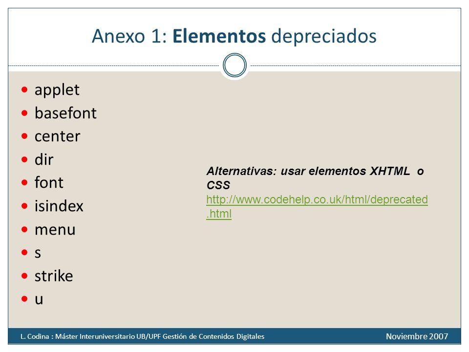 Anexo 1: Elementos depreciados