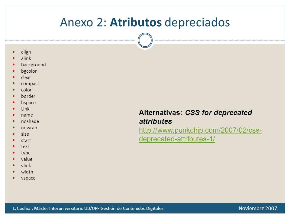 Anexo 2: Atributos depreciados
