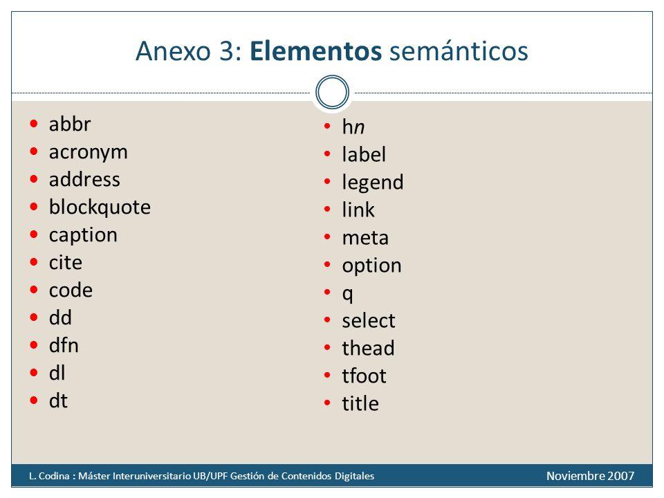 Anexo 3: Elementos semánticos