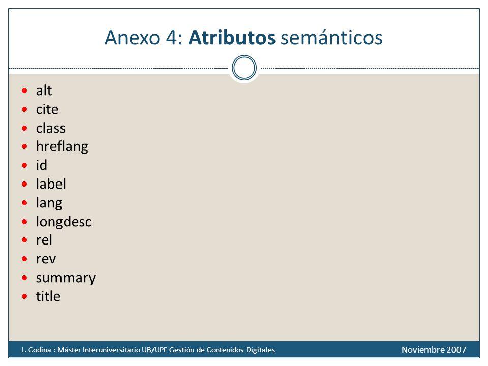 Anexo 4: Atributos semánticos