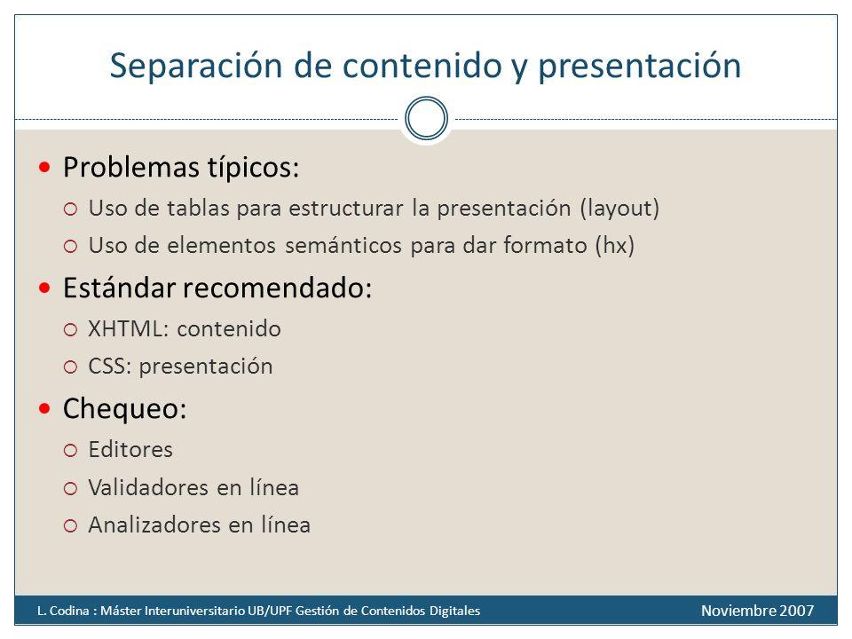 Separación de contenido y presentación