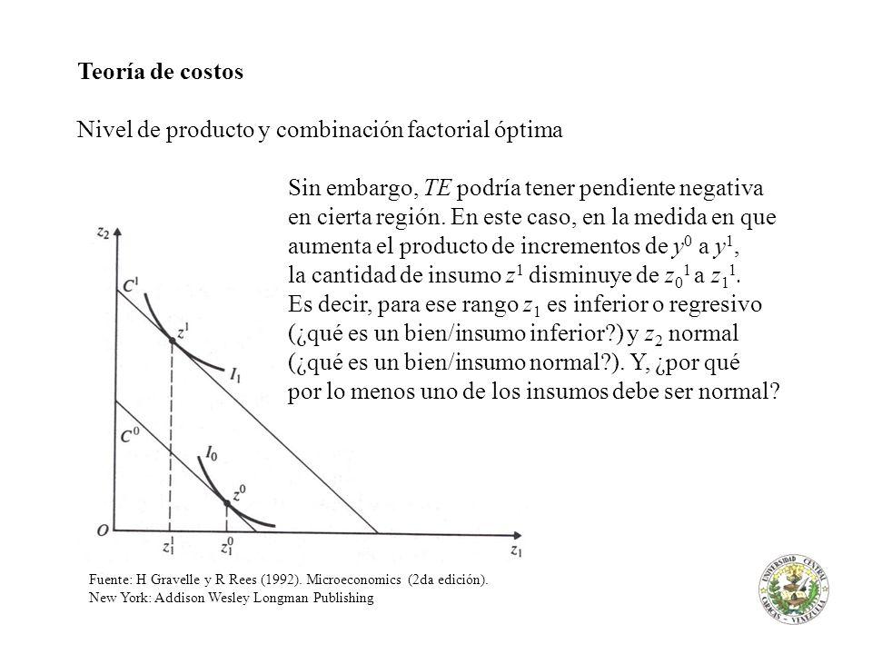Nivel de producto y combinación factorial óptima