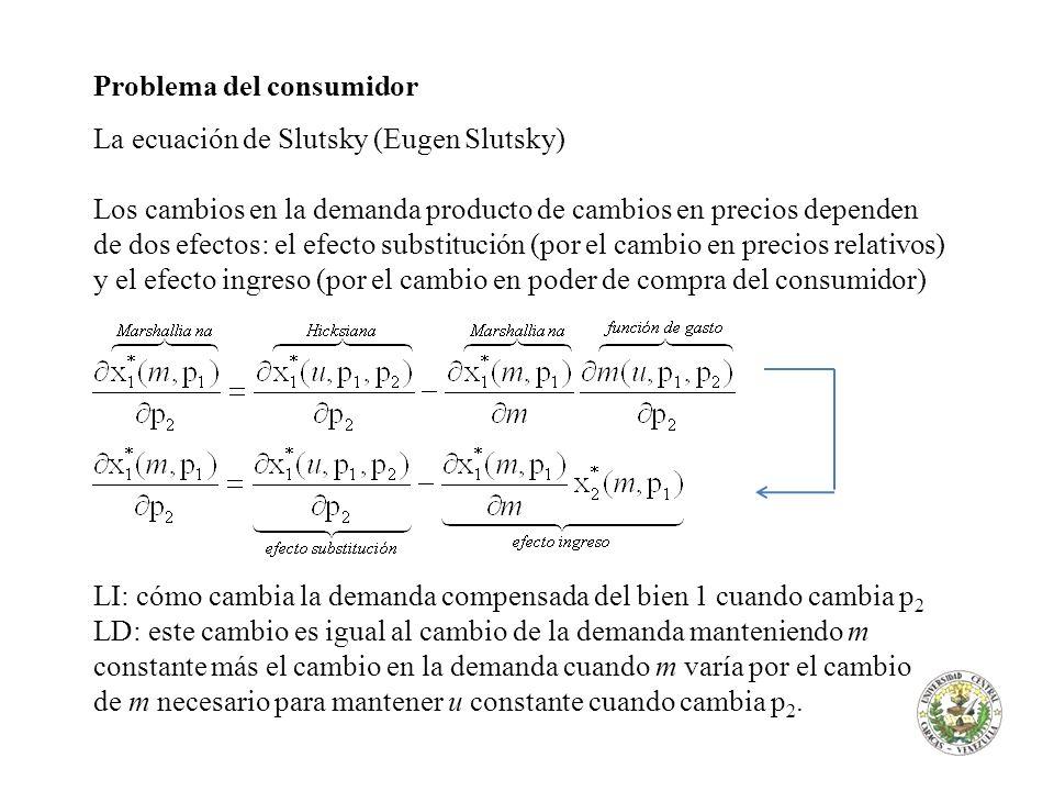 Problema del consumidor La ecuación de Slutsky (Eugen Slutsky)