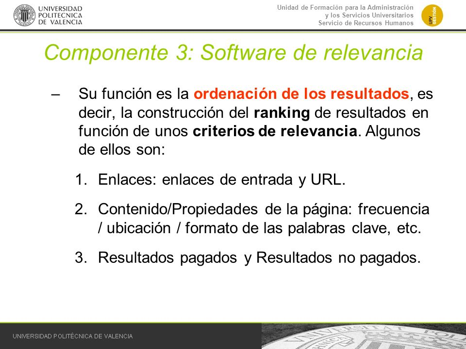 Componente 3: Software de relevancia
