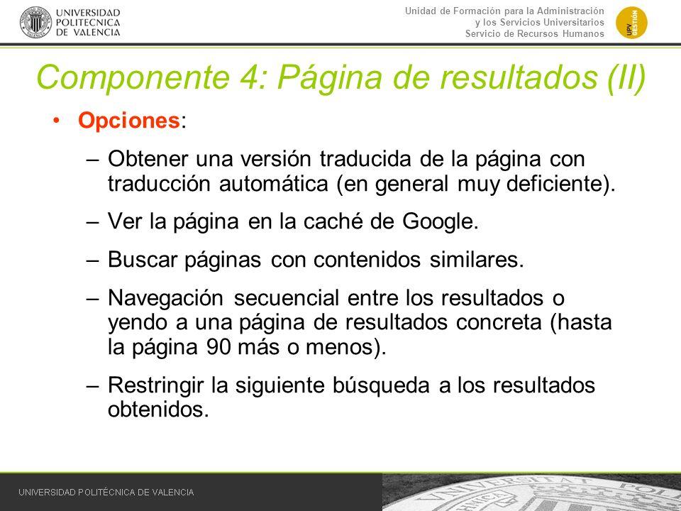 Componente 4: Página de resultados (II)