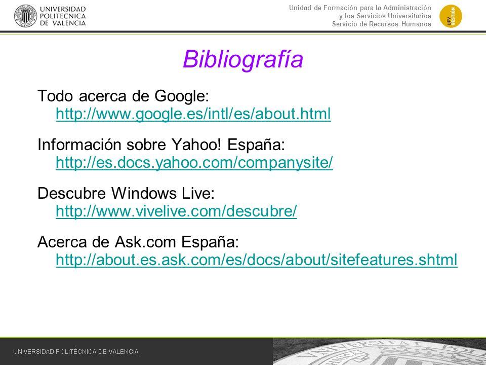 Bibliografía Todo acerca de Google: http://www.google.es/intl/es/about.html.