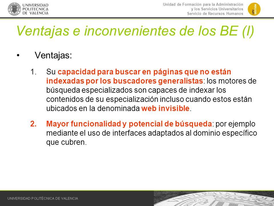 Ventajas e inconvenientes de los BE (I)