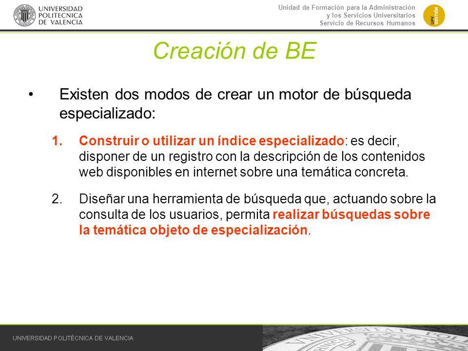 Creación de BE Existen dos modos de crear un motor de búsqueda especializado: