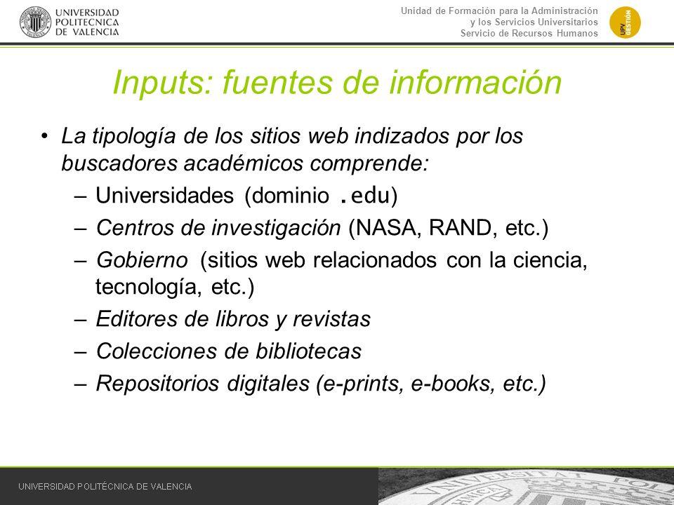 Inputs: fuentes de información