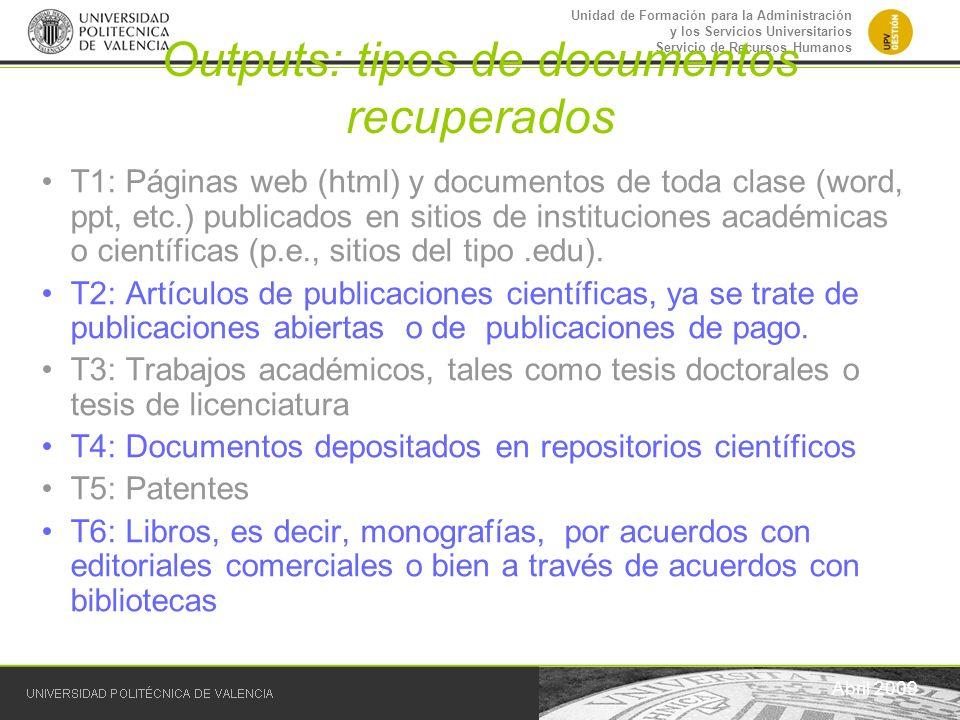 Outputs: tipos de documentos recuperados