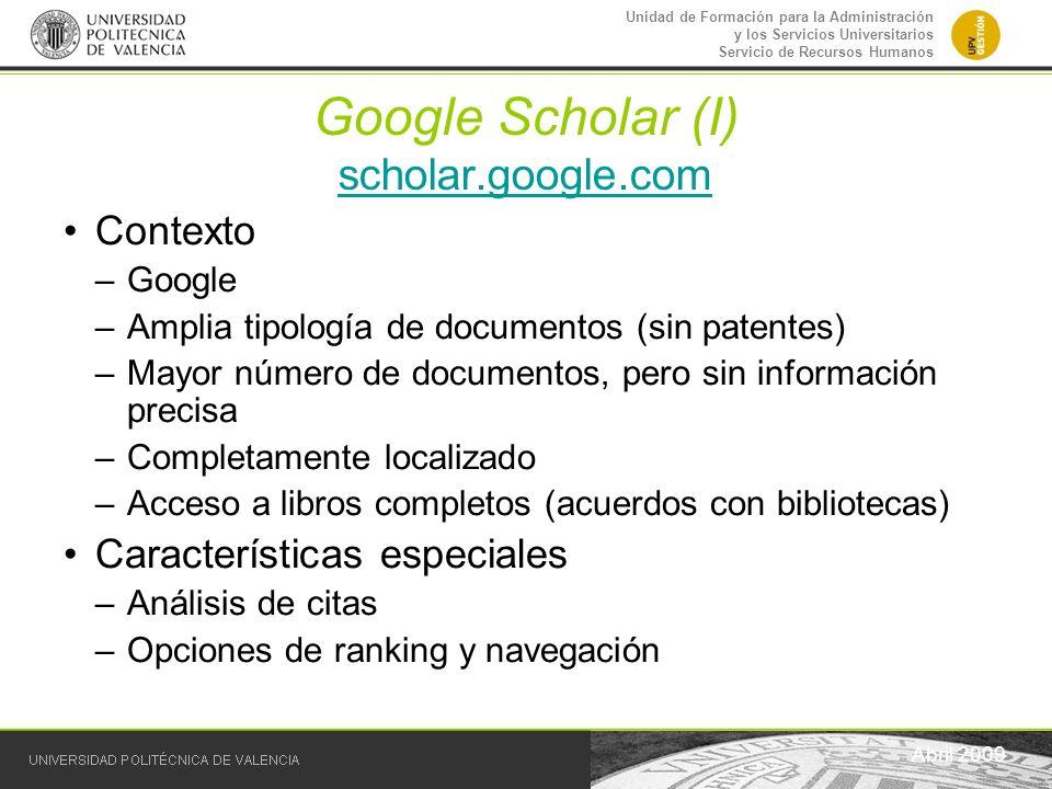 Google Scholar (I) scholar.google.com