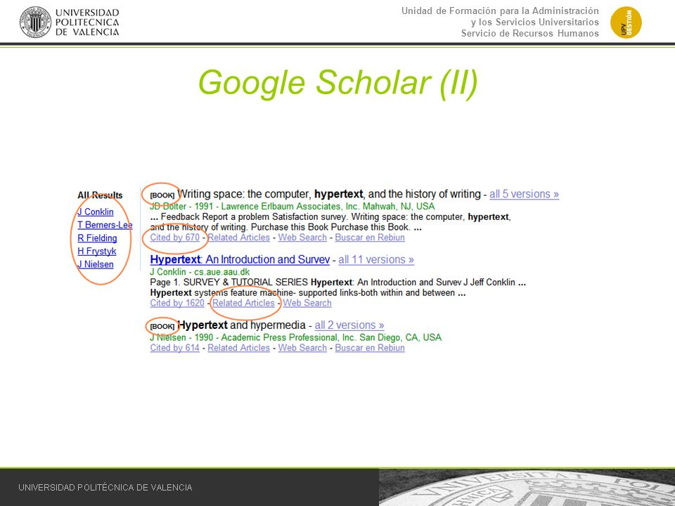 Google Scholar (II)