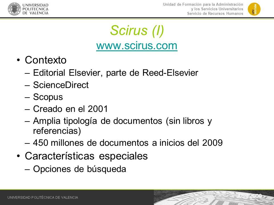 Scirus (I) www.scirus.com