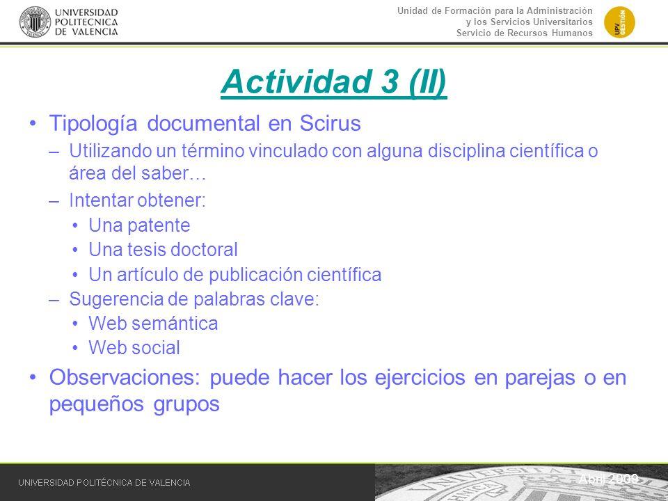 Actividad 3 (II) Tipología documental en Scirus