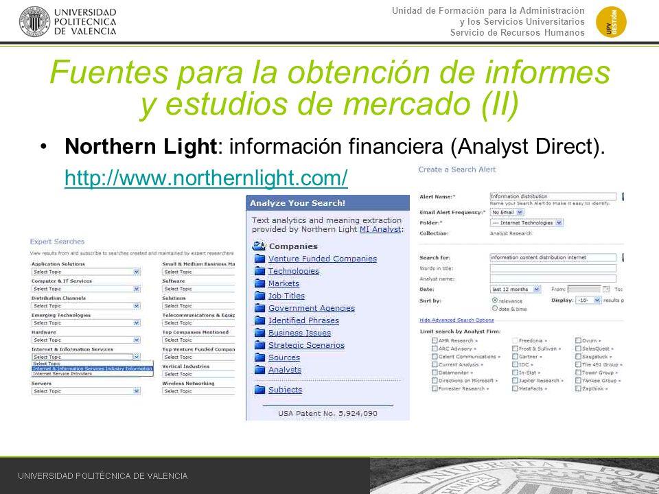 Fuentes para la obtención de informes y estudios de mercado (II)