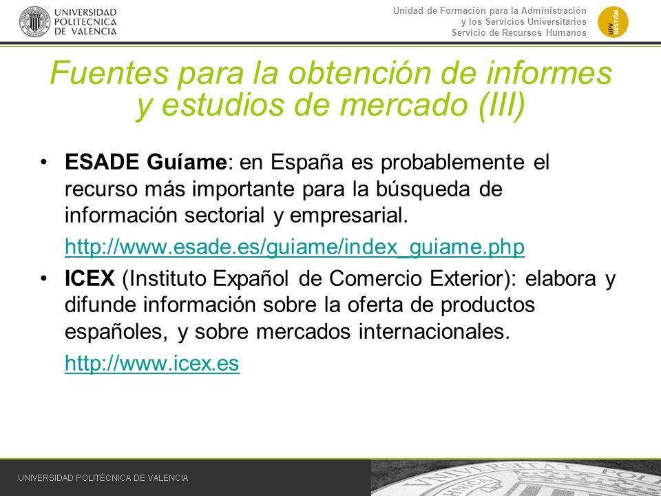 Fuentes para la obtención de informes y estudios de mercado (III)